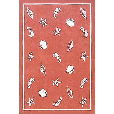 Nejad Rugs Shells & Seahorses 5 x 8 Light Coral AT041 LC