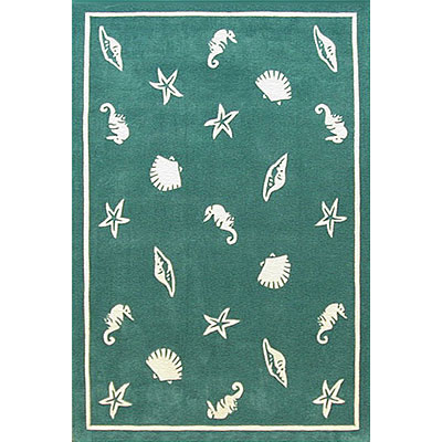 Nejad Rugs Shells & Seahorses 4 x 6 Teal AT041 TL