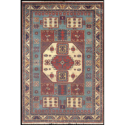 Nejad Rugs Cactus Ranch 8 x 11 Kazak Light Blue/Antique Ivory T0100 LBBG