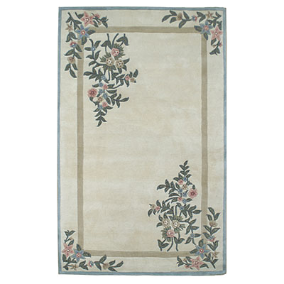 Nejad Rugs Floral Garden 8 x 10 Floral Corners Ivory/Blue BB002 IYBL