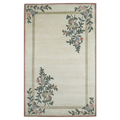Nejad Rugs Floral Garden 8 x 10 Floral Corners Ivory/Rose BB002 IYRS