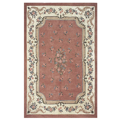 Nejad Rugs Floral Garden 6 x 9 Floral Aubuson Rose/Ivory T003 RSIY