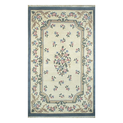 Nejad Rugs French Country 6 x 9 Oval Floral Aubuson Ivory/Blue 2001 IYBL