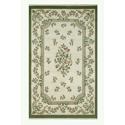 Nejad Rugs French Country 4 x 6 Floral Aubuson Ivory/Emerald 2001 IYEM