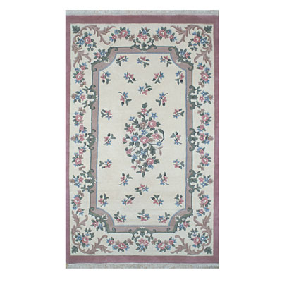 Nejad Rugs French Country 6 x 9 Oval Floral Aubuson Ivory/Rose 2001 IYRS