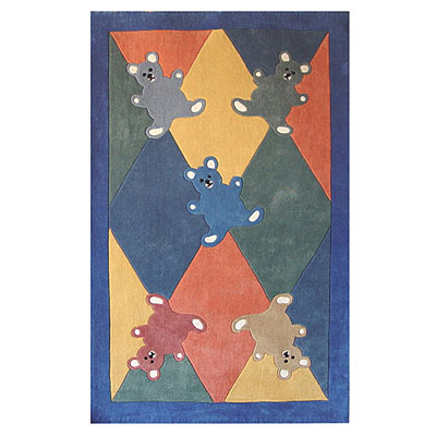 Nejad Rugs The Kids Rugs 4 X 6 Baby Bears Multi/Blue AT051 MTBL