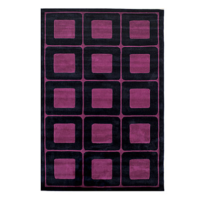 Nejad Rugs Deco Blocks 5 X 8 BLACK/PURPLE AT061 BKPR