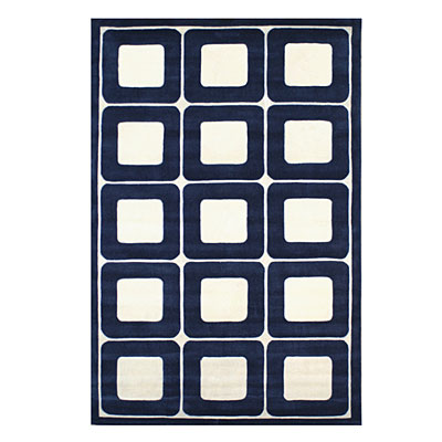 Nejad Rugs Deco Blocks 5 X 8 NAVY/WHITE AT061 NYWH