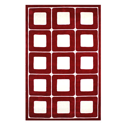 Nejad Rugs Deco Blocks 5 X 8 RED/WHITE AT061 RDWH