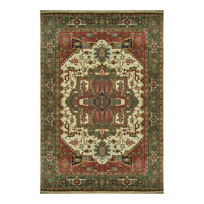Nejad Rugs Signature Heirloom 6 X 9 Heriz Antique Ivory/Emerald Green M003 AIEM