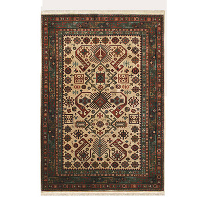 Nejad Rugs Signature Heirloom 6 X 9 Pepperdil Antique Ivory/Emerald Green M007 IYEM