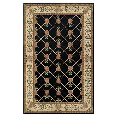 Nejad Rugs Tropical Island 6 x 9 Pineapple Garden Black/Ivory T096 BKIY
