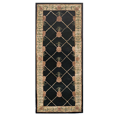 Nejad Rugs Tropical Island 3 x 8 Runner Pineapple Garden Black/Ivory T096 BKIY