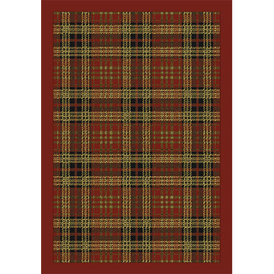 Orian Rugs Firenze Plaid Allover Border Rouge