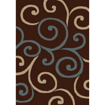 Orian Rugs Shagadelic 4 x 5 Swirls Chocolate