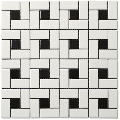 Adex USA Coordinating Floor Porcelain Pinwheel Mosaic Black White