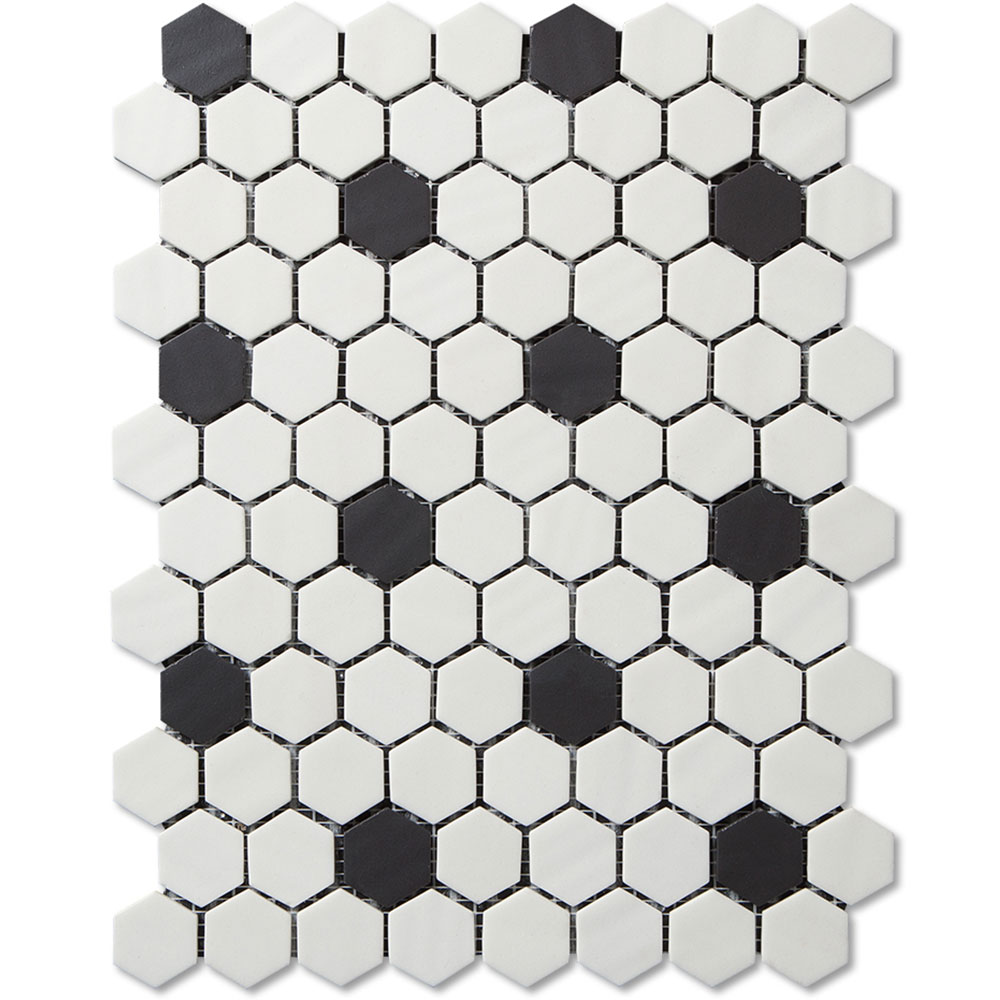 Adex Usa Floor Vintage Hexagon Mosaic Glass Black And