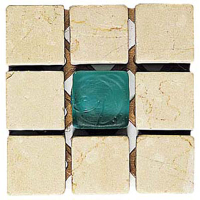 Alfagres Tumbled Marble Gema Series - Glass Inserts Boticcino Apple - Green Glass VD27
