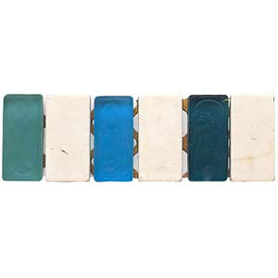 Alfagres Tumbled Marble Gema Series - Glass Inserts Boticcino Ocean Blue Sky Blue - Green Glass VD04