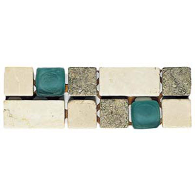 Alfagres Tumbled Marble Gema Series - Glass Inserts Boticcino V Royal Apple - Green Glass VD17