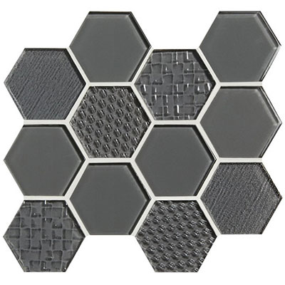 American Olean Color Appeal Felicity Hexagonal Multi-Structured Mosaic Charcoal Gray