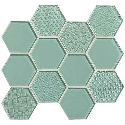 American Olean Color Appeal Felicity Hexagonal Multi-Structured Mosaic Vintage Mint