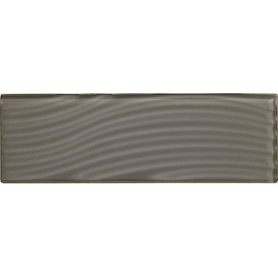 American Olean Color Appeal Abstracts Wavy Glass Tile 4 x 12 Charcoal Gray