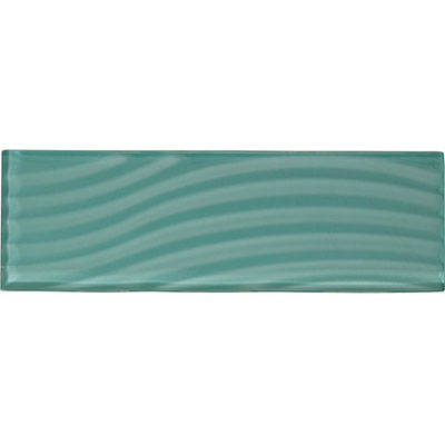 American Olean Color Appeal Abstracts Wavy Glass Tile 4 x 12 Fountain Blue