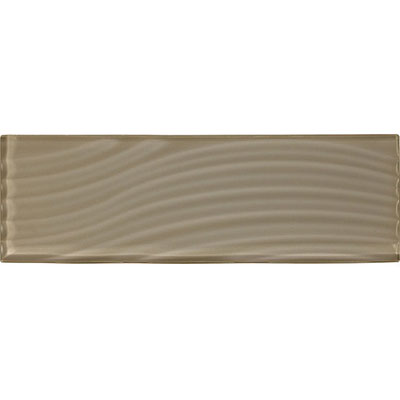 American Olean Color Appeal Abstracts Wavy Glass Tile 4 x 12 Plaza Taupe