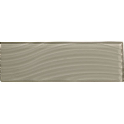 American Olean Color Appeal Abstracts Wavy Glass Tile 4 x 12 Silver Cloud