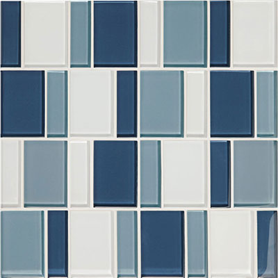 American Olean Color Appeal Renewal Block Random Glass Mosaic Blue Moon