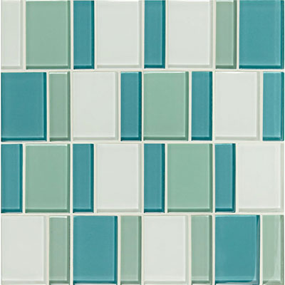 American Olean Color Appeal Renewal Block Random Glass Mosaic Sea Pearl