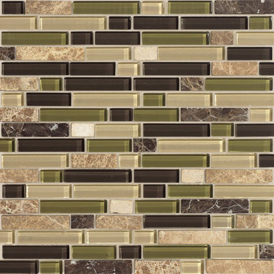 American Olean Legacy Glass Mosaic 5/8 x Random Blends Jungle Blend LG49 58RANDMS1P