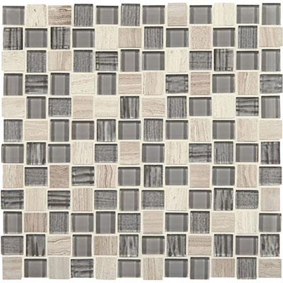 American Olean Marble Weave Offset Marble and Glass Mosaic Catacombs