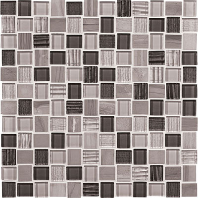 American Olean Marble Weave Offset Marble and Glass Mosaic Great Giza