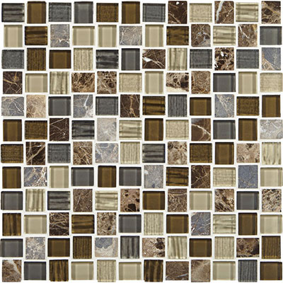 American Olean Marble Weave Offset Marble and Glass Mosaic Great Wall