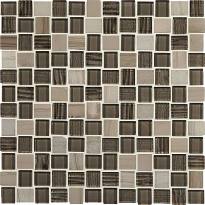 American Olean Marble Weave Offset Marble and Glass Mosaic Machu Picchu