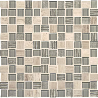 American Olean Marble Weave Offset Marble and Glass Mosaic Taj Mahal