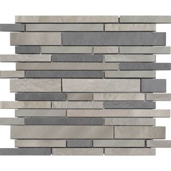 American Olean Refined Metals Interlocking Random Mosaic Stainless Gunmetal Blend