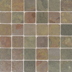 American Olean Tumbled Slate Mosaic 2 x 2 India Multicolor TU7222MS1P