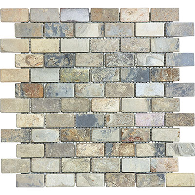Anatolia Tile & Stone Slate Mosaic Brick 1 x 2 Indian Autumn