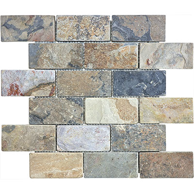 Anatolia Tile & Stone Slate Mosaic Brick 2 x 4 Indian Autumn