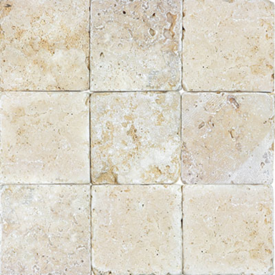 Anatolia Tile & Stone Travertine 4 x 4 Rustic Ivory