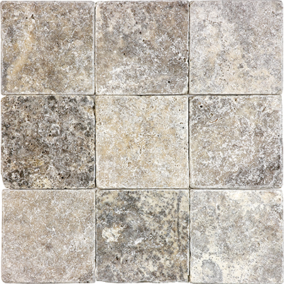 Anatolia Tile & Stone Travertine 4 x 4 Silver Ash