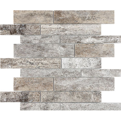 Anatolia Tile & Stone Travertine Honed Mosaic Random Strip Silver Ash
