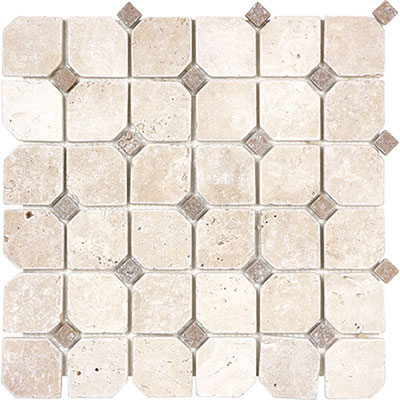 Anatolia Tile & Stone Travertine Mosaic with Dot Classic Ivory with Noce Dot