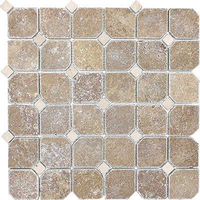 Anatolia Tile & Stone Travertine Mosaic with Dot Noce with Classic Ivory Dot
