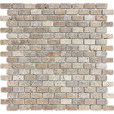 Anatolia Tile & Stone Travertine Mosaic Mini Brick 5/8 x 1 1/4 Noce