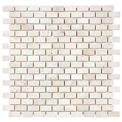 Anatolia Tile & Stone Travertine Mosaic Mini Brick 5/8 x 1 1/4 Classic Ivory