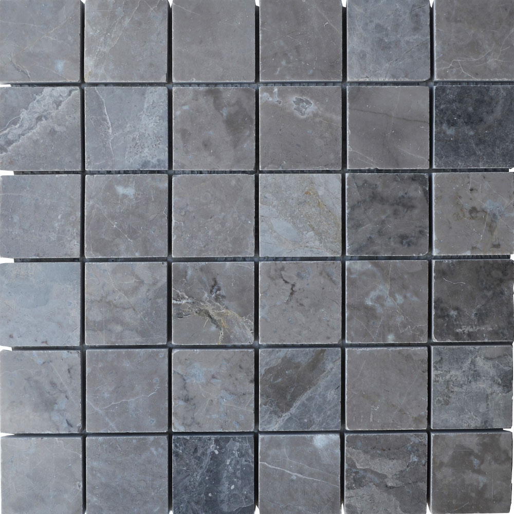 Atlantic Stone Source Mosaics Marble 2 x 2 Polished Silver